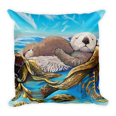 Sea otter pillow Follow the Sun Art