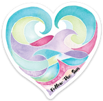 ocean love heart sticker