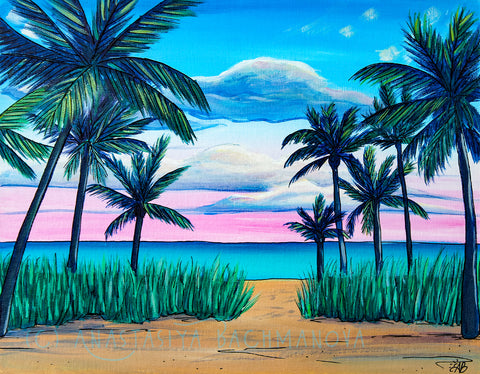 tropical beach painting sunset palm trees ocean