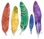rainbow feathers watercolor and ink painting, follow the sun art