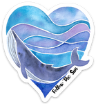 whale heart watercolor art sticker