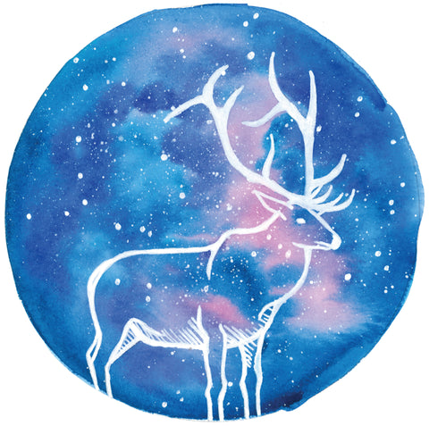 Starry elk mixed media painting, anastasiya bachmanova