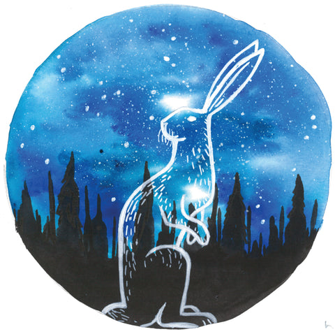 Starry Hare mixed media painting, anastasiya bachmanova