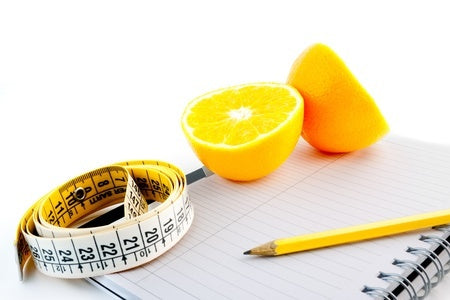 Paper, pencil, ruler, and oranges