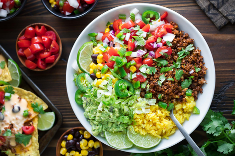 veggie taco bowl on a wooden table
