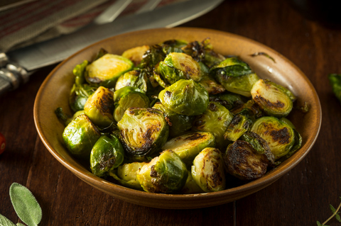 Roasted Green Brussel Sprouts in a Bowl