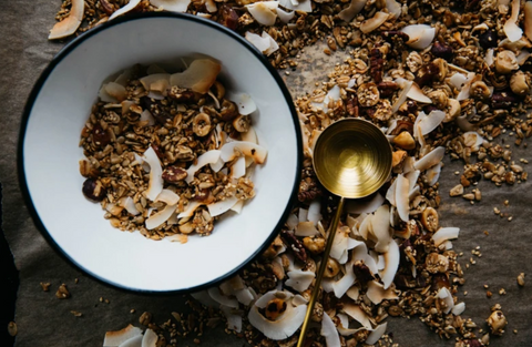 coconut granola on wooden table