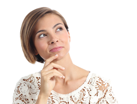 woman thinking and looking at side isolated on a white background