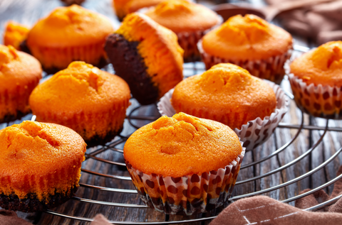healthy pumpkin muffins on cooling rack