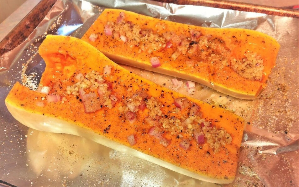 butternut squash with garlic and shallots