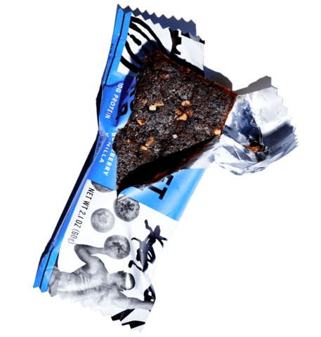 Half unwrapped blueberry vanilla protein bar