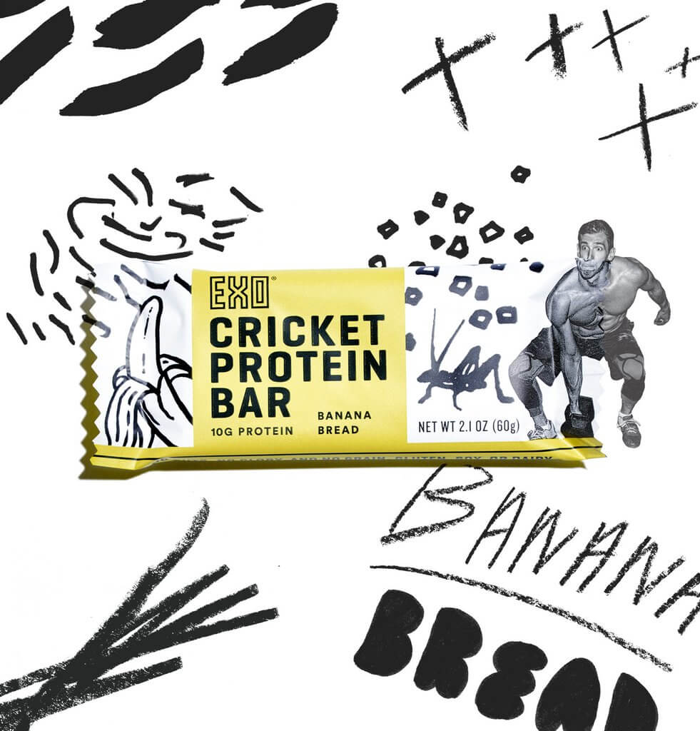 Black graffiti surrounding banana bread protein bar