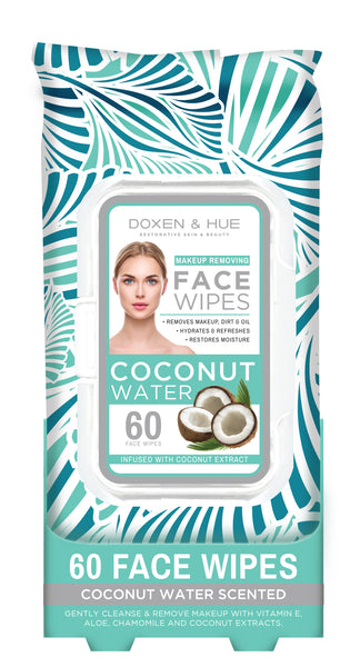 Doxen & Hue Facial Cleansing Wipes, Coconut Water