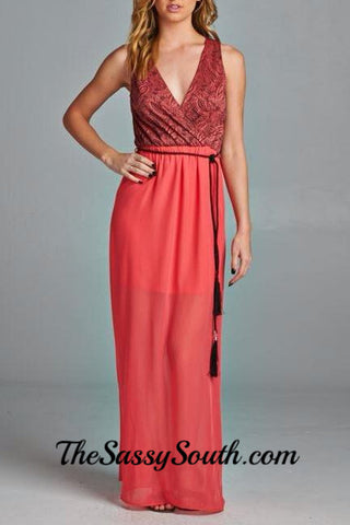 Coral Maxi Dress - Dress - The Sassy South Boutique