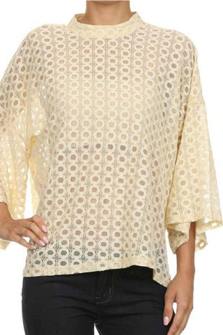 Lace Mock-Neck Blouse - Blouse - The Sassy South Boutique