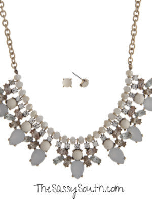 White Champagne Statement Necklace Set