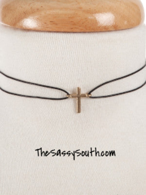 Black Waxed Double Loop Cord Choker with Cross Accent