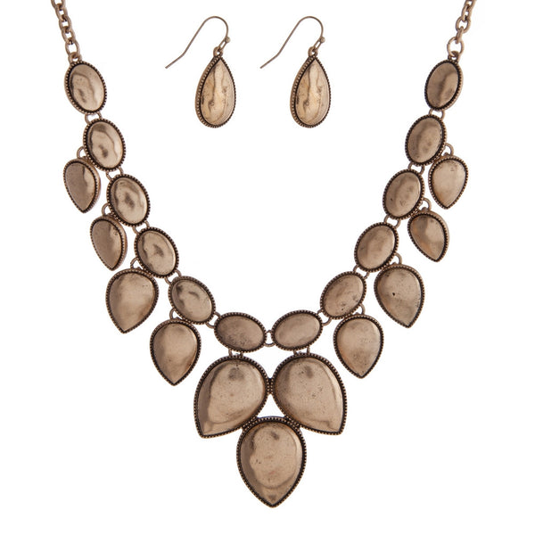 Burnished Gold Tone Statement Necklace Set - Jewelry - The Sassy South Boutique