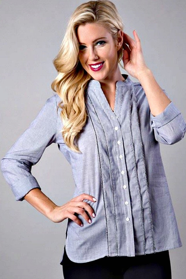Blue Button Up - Blouse - The Sassy South Boutique