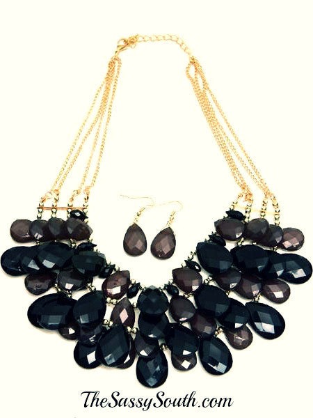 Charcoal Droplet Necklace Set - Jewelry - The Sassy South Boutique