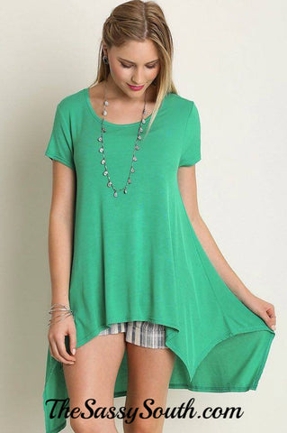 Emerald Hi-Lo Tunic Blouse - Blouse - The Sassy South Boutique