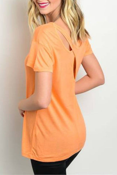Criss-Cross Tangerine Tee - Blouse - The Sassy South Boutique