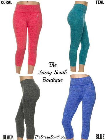 Two Tone Active Capri Legging Pants