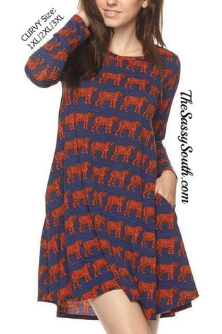 CURVY Tiger Print Dress - Dress (CURVY) - The Sassy South Boutique