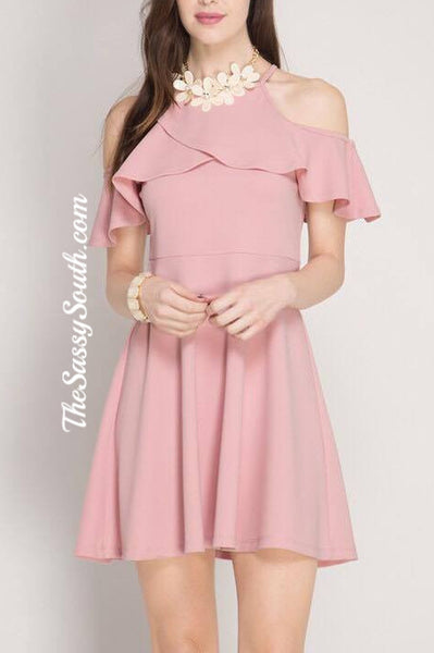 Ruffled Cold Shoulder FitFlare Dress (Pink) - Dress - The Sassy South Boutique