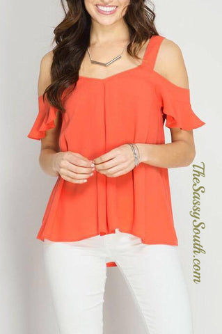 Elegant Cold Shoulder Blouse (Tomato) - Blouse - The Sassy South Boutique