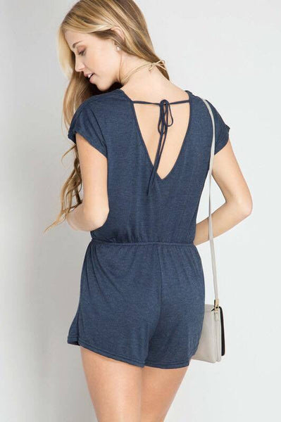 Short Sleeve V-Tie Romper (Dusty Blue)