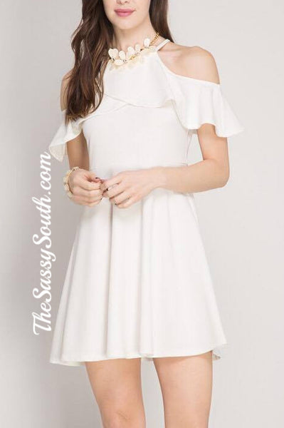 Ruffled Cold Shoulder FitFlare Dress (OffWhite)