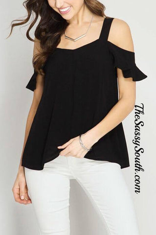 Elegant Cold Shoulder Blouse (Black) - Blouse - The Sassy South Boutique