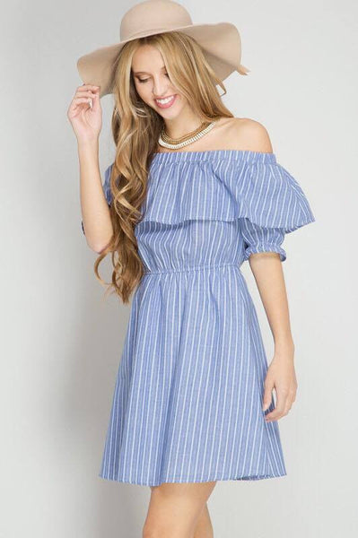 Ruffle Off-The-Shoulder Dress - Dress - The Sassy South Boutique