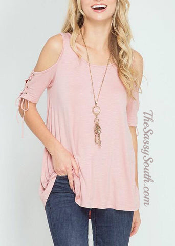 Lace Up Cold Shoulder Blouse - Blouse - The Sassy South Boutique