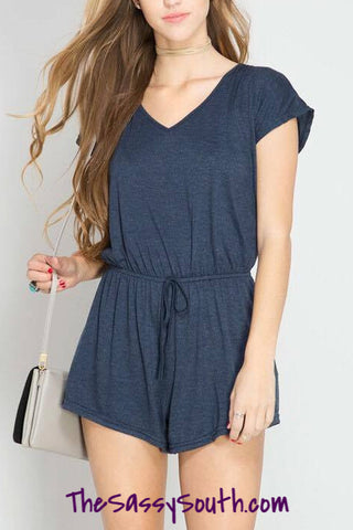 Short Sleeve V-Tie Romper (Dusty Blue) - Romper - The Sassy South Boutique