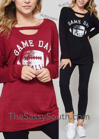 GAME DAY Y'ALL (Black and Burgundy) - Graphic Top - The Sassy South Boutique