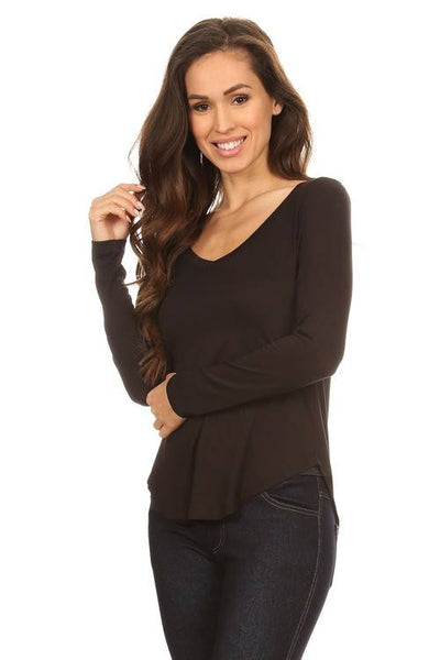 Lite Solid Long Sleeve V-Neck - Blouse - The Sassy South Boutique