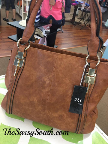 Brown Two Tone Purse Tote