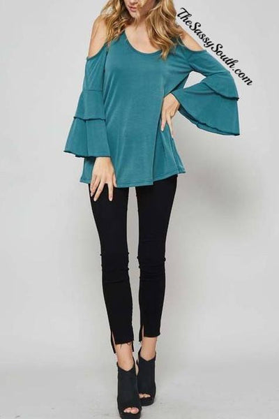 Teal Tiered Ruffle Sleeve Blouse - Blouse - The Sassy South Boutique