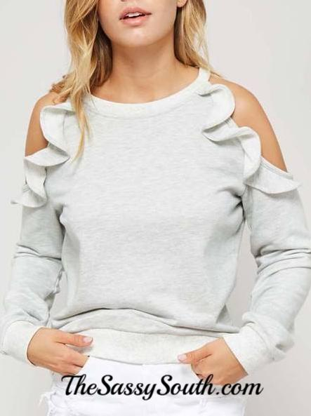 Ruffle Trimmed Cold Shoulder Well-Fitted Sweatshirt - Blouse - The Sassy South Boutique