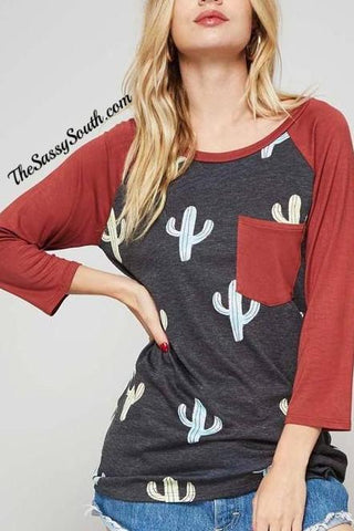 Cactus Print Raglan Top - Blouse - The Sassy South Boutique