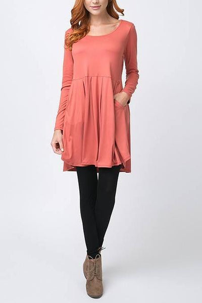 Long Sleeve Pleated Dress w/Pockets (CURVY) - Dress (CURVY) - The Sassy South Boutique