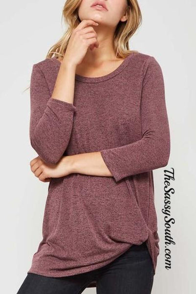 Hacci Brushed Knit Knot Blouse (H.Grey and Mauve) - Blouse - The Sassy South Boutique