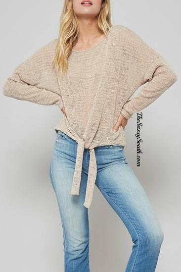 Beige Front Tie Blouse - Blouse - The Sassy South Boutique