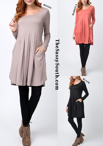 Long Sleeve Pleated Dress w/Pockets - Dress - The Sassy South Boutique