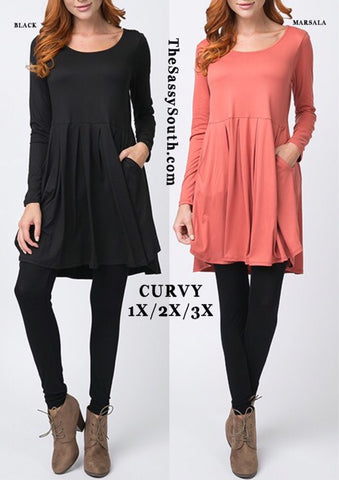 Long Sleeve Pleated Dress w/Pockets (CURVY)