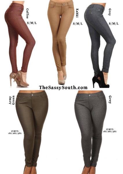 Sassy Color Jeggings (Sizes: S-M-L-1XL-2XL-3XL) - Jeggings - The Sassy South Boutique