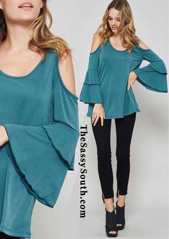 Teal Tiered Ruffle Sleeve Blouse