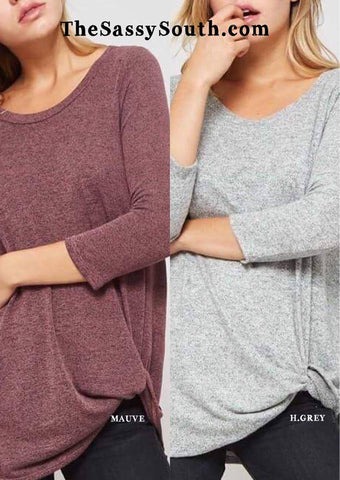 Hacci Brushed Knit Knot Blouse (H.Grey and Mauve)